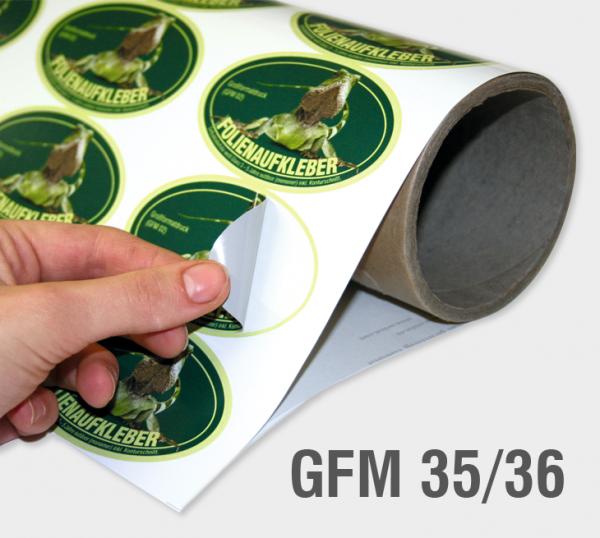 GFM 35/36 - Selbstklebefolie 100 µm, weiß, glänzend, grauer Kleber, ablösbar (monomer)