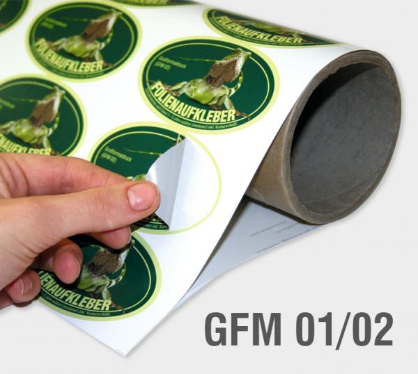 GFM 01/02 - Selbstklebefolie 100 µm, weiß, glänzend, grauer Kleber (monomer)