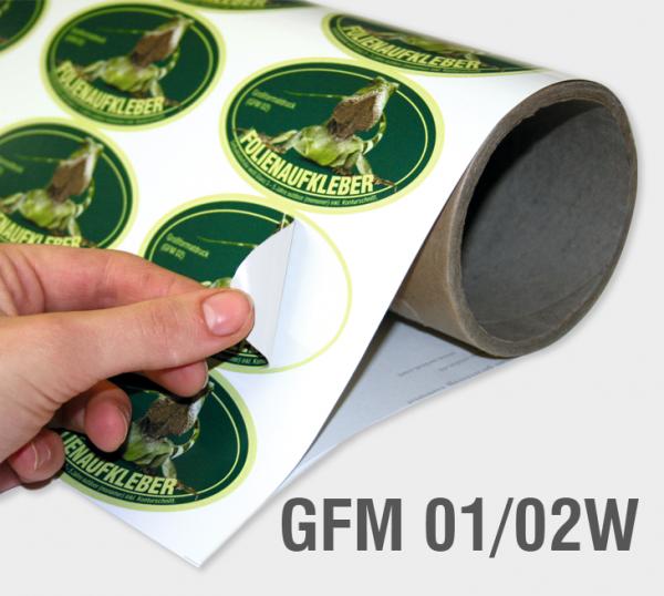 GFM 01/02W - Selbstklebefolie 100 µm, weiß, glänzend, transparenter Kleber (monomer)