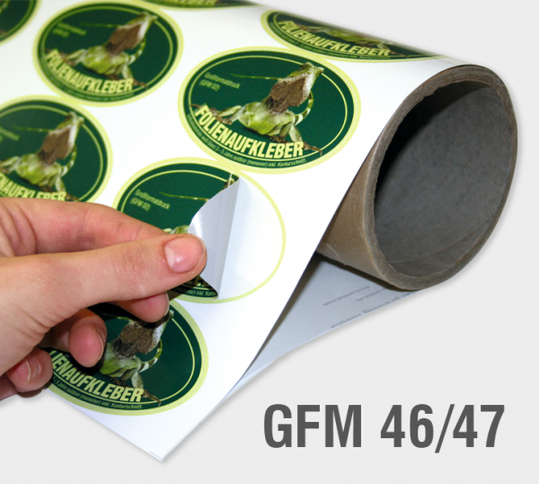 GFM 46/47 - Selbstklebefolie/Betonfolie 90 µm, weiß, semi-glanz (polymer), Spezialkleber