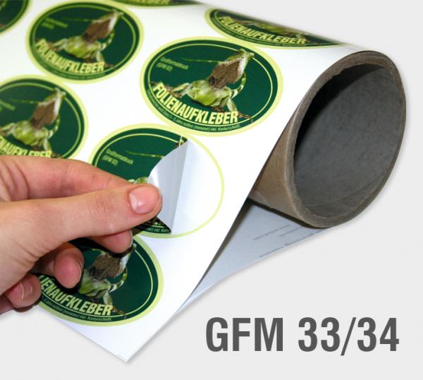 GFM 33/34 - Selbstklebefolie 55 µm, weiß, glänzend (gegossen)
